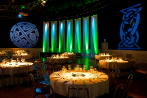 Corporate irish visual event design with curtains and lightning at the Round Room in Mansion House