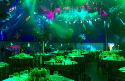An Enchanted Forest corporate event management theme with camouflage netting and LED lights at The Round Room