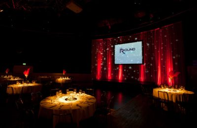 Backdrops and Pin Spots at The Round Room for a corporate event design