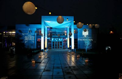 Exterior event styled decor with outdoor Festoon Lighting with nylon & pathway lanterns for the corporate and party events