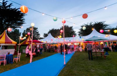 LVA walkway entrance marquee with blue carpet and festoons