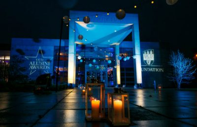 alumni awards entrance with festoons and lanterns