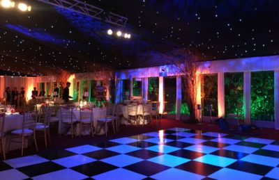 black & white chequered dance floor for event rentals