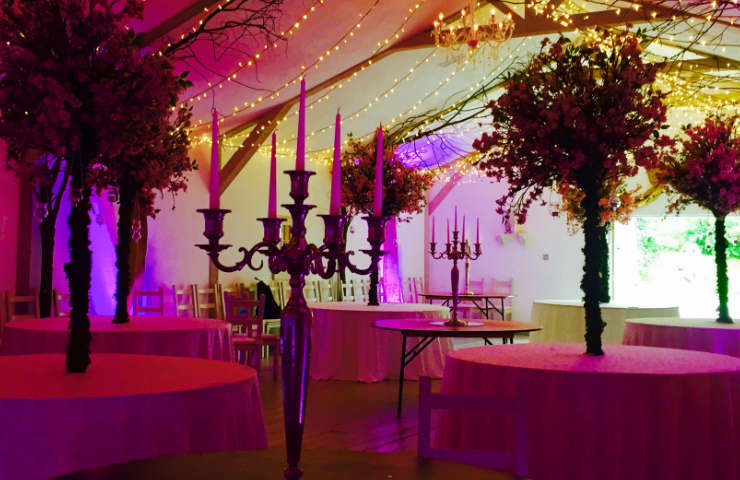 candelabra centrepieces for events rental and hire in golden or silver, also as fairy lights and floral centrepieces