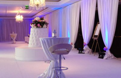 Wedding hotel interiors design with white drapery and white furniture