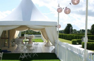 clear pagoda design for hire and installation for events with ivory and pastel pink colours, also as festoons and pink paper lanterns