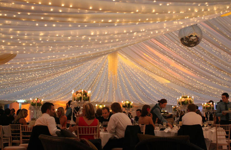 Wedding Interior With White Marquee Roof A Disco Ball And Fairy Lights 2