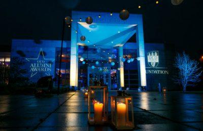 alumni awards entrance with festoons and lanterns