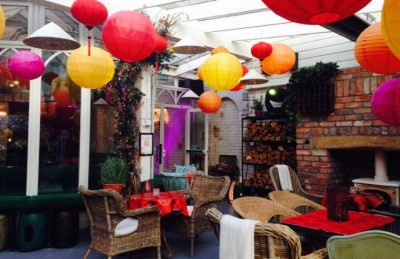 asian theme design with colourful paper lanterns rental