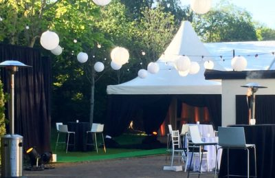 black and white lantern rentals for outdoor event design