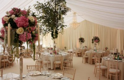 silver candelabras for hire and rental to events like weddings, corporate parties for top tables with cream chiavari chairs
