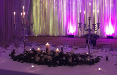 silver candelabras for top tables at weddings with sparkly backdrops
