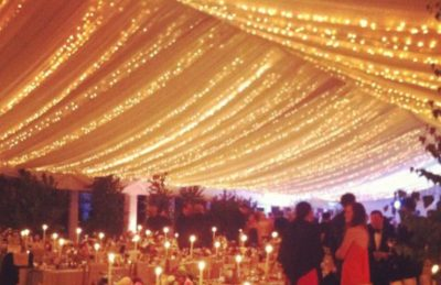wedding marquee design at night with christmas lights rental