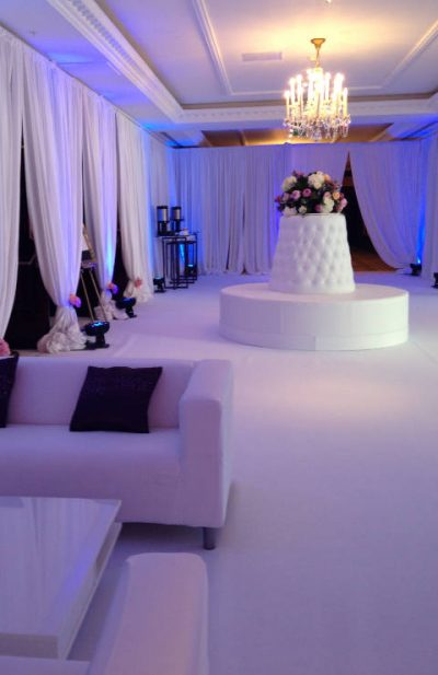 white furniture for wedding hire and event rentals
