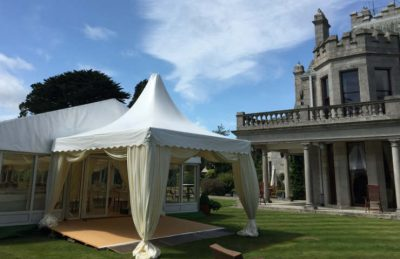 wedding pagodas rental and decor in ivory draping